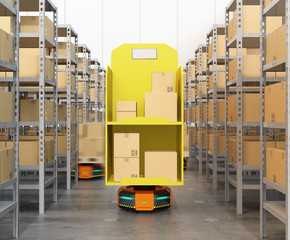 Front view of Orange robot carriers carrying goods in modern warehouse.  Modern delivery center concept. 3D rendering image.