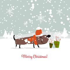 Christmas card, santa dog with gifts. Symbol of 2018