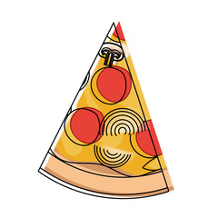 pizza slice in watercolor silhouette on white background