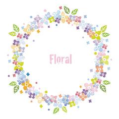 カラフルな花飾りのリース、円形飾り枠デザイン