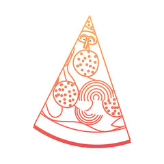 pizza slice in degraded orange to magenta color contour