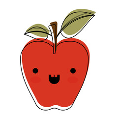 kawaii red apple with stem and leaves in watercolor silhouette