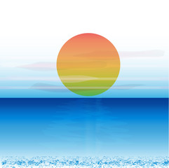 Sunset on blue ocean vivid colors vector image