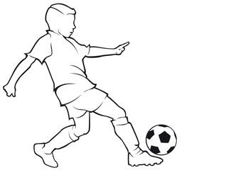 Boy footballer contour
