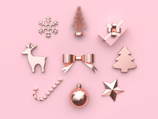 christmas holiday concept bow ball candy reindeer snow tree gift box star  pink background 3d rendering