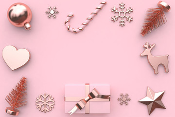 gift box and christmas element snow christmas tree star pink background blank space 3d rendering