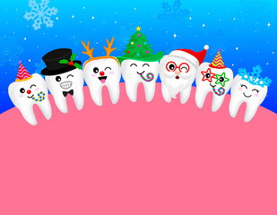 happy cute cartoon tooth  snowflake, Santa Claus, Xmas tree, deer, snowman. great for Christmas celebration. illustration