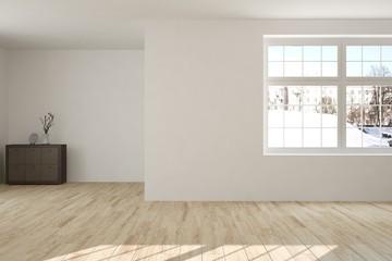 Idea of white minimalist room with shelf. Scandinavian interior design. 3D illustration