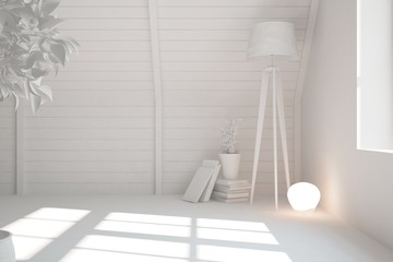 White empty room with lamp. Scandinavian interior design. 3D illustration