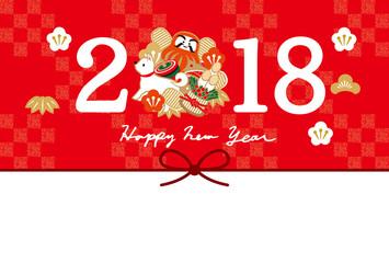 2018年賀 ニューイヤー のし赤 赤チェック