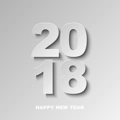 Happy new year 2018 minimalistic vector background.