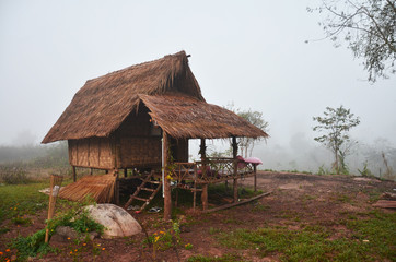 Wooden hut of resort and homestay for travelers people rest in morning time at Ban Bo Kluea village