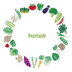 野菜のリース、円形飾りフレーム
