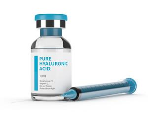 3d render of hyaluronic acid vial and syringe