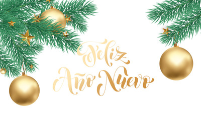 Feliz Ano Nuevo Spanish Happy New Year golden calligraphy hand drawn text and golden ornament for greeting card background template. Vector Christmas golden text and white snow design