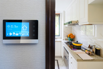 smart screen with smart home with modern kitchen
