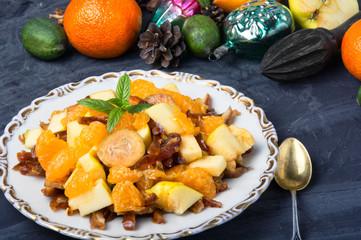 Christmas exotic fruit salad