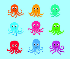 cute happy octopus vector