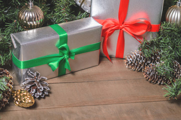 Christmas and New Year, gifts, toys, decor, fir close up
