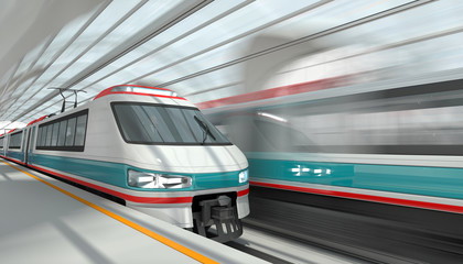 High-speed trains at a station with a glass roof. 3d image