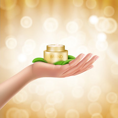 Advertising poster with perfect cosmetic product in open golden box lying on a womans hand, defocused bright background with golden sparkling sequins. Vector realistic design for promotion cosmetics