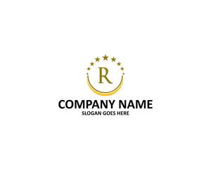 r letter circle star logo