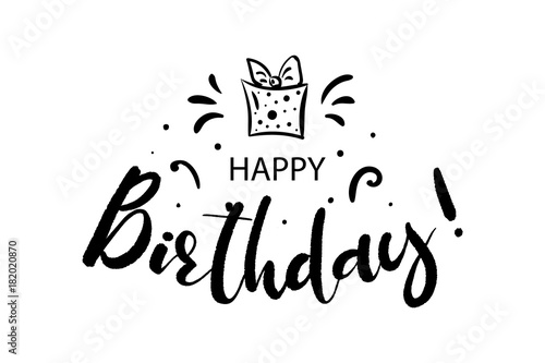 Happy Birthday Card Beautiful Greeting Banner Lettering Calligraphy Inscription Holiday Phrase Black Text