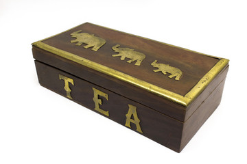 Wooden asian tea box isolated on white