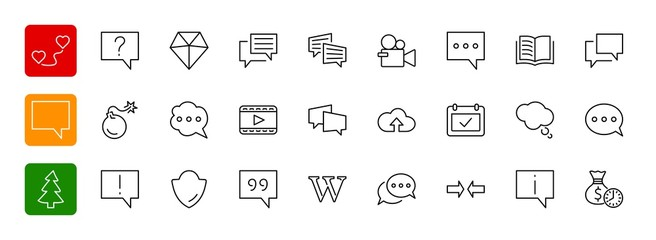 Set of speech bubble chat vector lines of icons. Editable move.