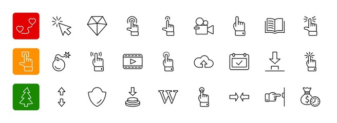 Click Set of Buttons related Vector Icons. Contains such Icons a