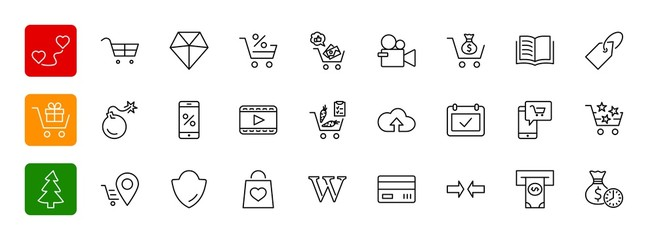 Shopping Cart Vector Line Icons Set: Money, ATM, List Products,