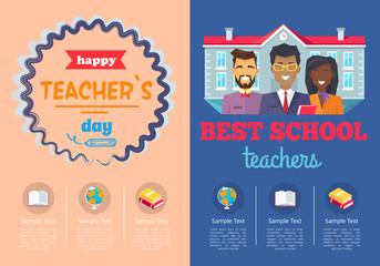 School Theme Set of Posters Vector Illustration