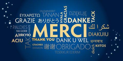 merci multilingue - bleu et doré