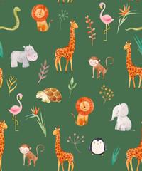 Fototapete - Watercolor baby vector pattern