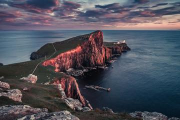 Cold sunset at the Neist point lighthouse, Scotland, UK