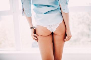 Back view of attractive women in underwear