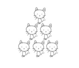 六つ子の子猫ちゃんたち。モノクロイラスト線画