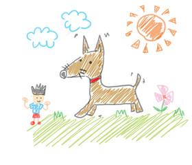 僕とイヌのお散歩。公園で遊ぶ。子供の落書き風イラスト