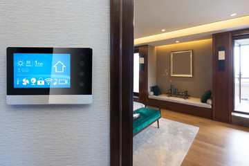 smart screen with smart home with modern bedroom