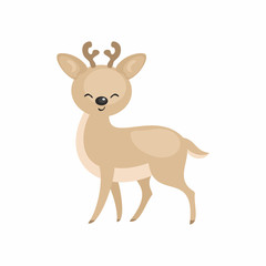 The image of a cute cartoon reindeer. Vector illustration.
