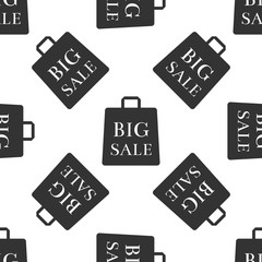 Big sale bag icon seamless pattern on white background. Flat design. Vector Illustration
