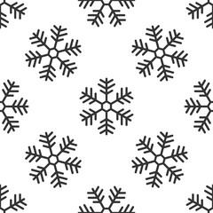 Snowflake icon seamless pattern on white background. Flat design. Vector Illustration