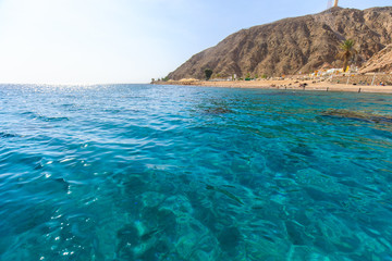 Turquoise Water of the Red sea and Coarl reef in Eilat, Israel