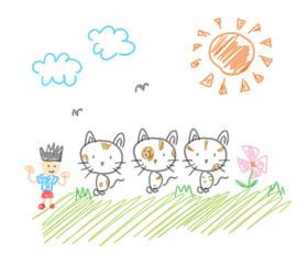 三匹の三毛猫と僕のお散歩。子供の落書き風。遠近法無視。どことなく不気味なイラスト
