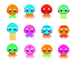 cute jellyfish vector collection