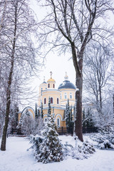 Peter and Paul Cathedral in winter in the park