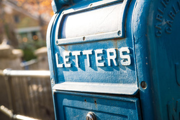 A blue letter box