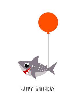 cute little shark happy birthday greeting with balloon