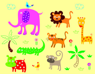 cute animals poster vector
