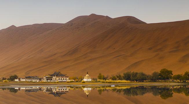 miao lake, badain jaran, china